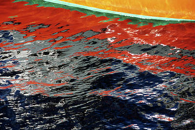 Photograph - Reflection From Painted Fishing Boat by Holger Leue