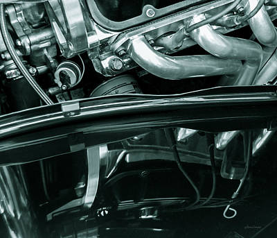 Reflection In Black - Ford Corba Engines Art Print by Steven Milner