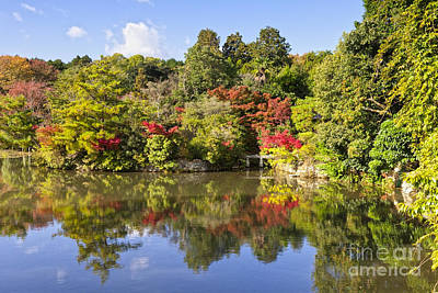 Photograph - Reflection In Kyoyochi Pond In Autumn Ryoan-ji Kyoto by Colin and Linda McKie