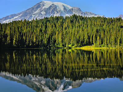 Photograph - Reflection Lake Mount Rainier by Matthew Ahola