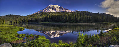 Photograph - Reflection Lake Panorama by Mark Kiver
