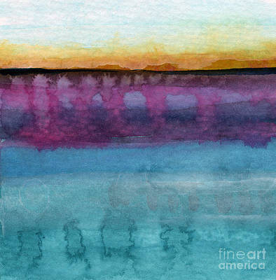 Abstract Beach Landscape Painting - Reflection by Linda Woods