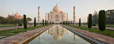 Reflection Of A Mausoleum In Water, Taj Art Print