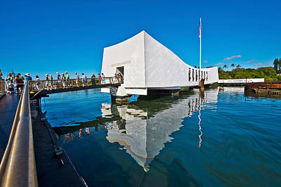 American National Flag Photograph - Reflection Of A Memorial In Water, Uss by Panoramic Images