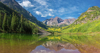 White River Scene Photograph - Reflection Of A Mountain On Water by Panoramic Images