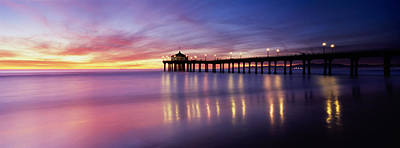 Evening Scenes Photograph - Reflection Of A Pier In Water by Panoramic Images
