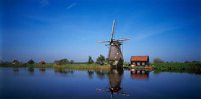 Reflection Of A Traditional Windmill Art Print