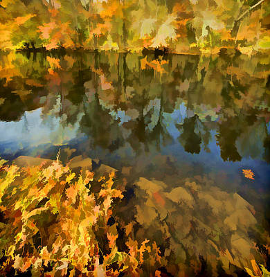 Impressionism Photos - Reflection of Autumn Colors on the Canal II by David Letts