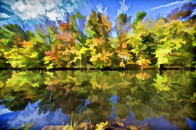 Impressionism Photos - Reflection of Autumn Colors on the Canal III by David Letts