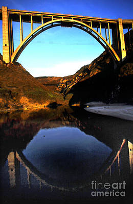 Photograph - Reflection Of Bixby Creek Bridge From Bixby Beach California 1999 by California Views Mr Pat Hathaway Archives