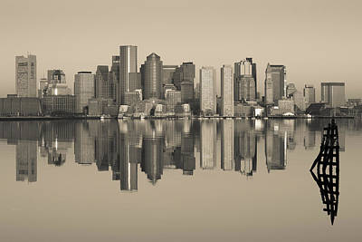 Boston Financial District Photograph - Reflection Of Buildings In Water by Panoramic Images