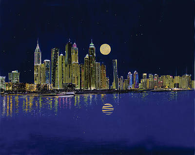 Dubai Skyline Painting - Reflection Of City by Art Tantra