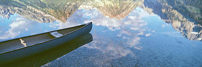 Canoes Photograph - Reflection Of Clouds And Teton Range by Panoramic Images