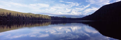 Reflection Of Clouds In A Lake, Mt Hood Art Print by Panoramic Images