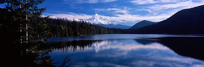 Reflection Of Clouds In Water, Mt Hood Art Print by Panoramic Images