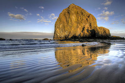 Sky Photograph - Reflection Of Haystack Rock At Cannon Beach 2 by David Gn