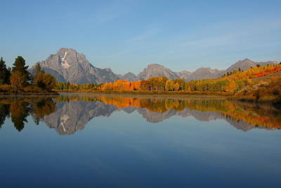 Reflection Of Mount Moran In Autumn Art Print by Jetson Nguyen