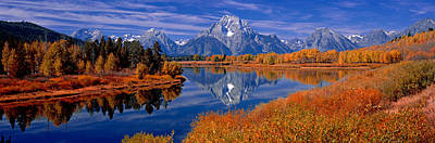 Reflection Of Mountains In The River Art Print by Panoramic Images
