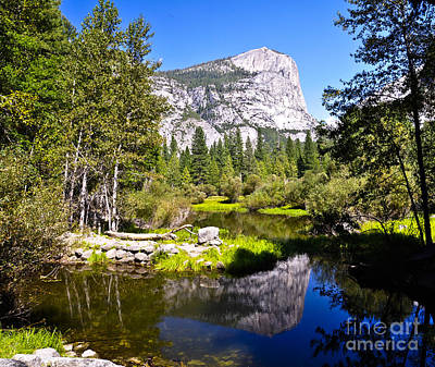 Reflection Of Mt Watkins In Mirror Lake Located In Yosemite National Park Art Print by Camille Lyver