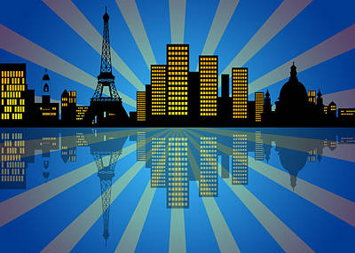 Paris Skyline Royalty-Free and Rights-Managed Images - Reflection of New York City Skyline at Night by Jit Lim
