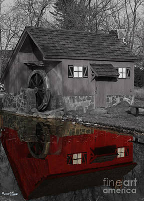 Reflection Of Red Mill Art Print by Bill Woodstock
