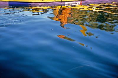Reflection Of Sea Kayaker Paddling Art Print