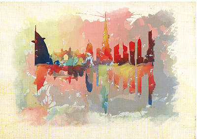Dubai Skyline Painting - Reflection Of The City  by Art Tantra