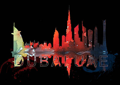Dubai Skyline Painting - Reflection Of The City At Night by Art Tantra