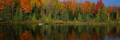 Canoe Photograph - Reflection Of Trees In Water by Panoramic Images