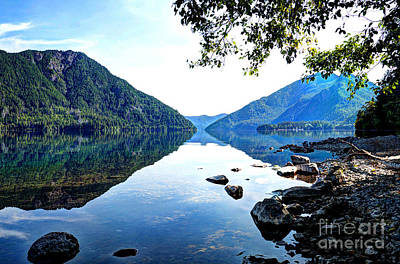 Photograph - Reflection On Lake Crescent Horizontal by Sarah Schroder