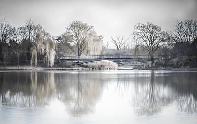 Photograph - Reflection Over Lake Winter Scene by Julie Palencia