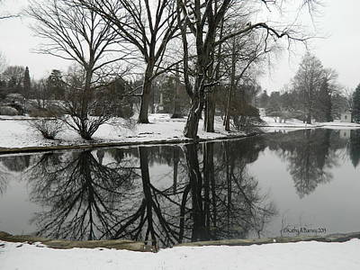 Art Print featuring the photograph Reflection Pond Spring Grove Cemetery by Kathy Barney