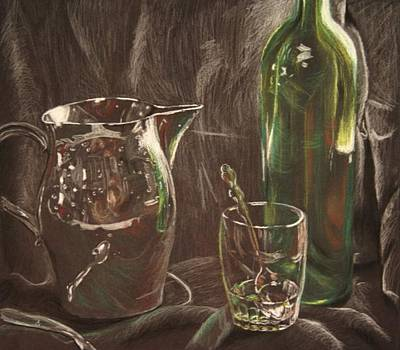 Wine Drawing - Reflection Study 2 by Lawrence Saunders