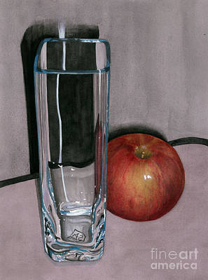 Apple Watercolor Painting - Reflections And Shadows by Barbara Jewell