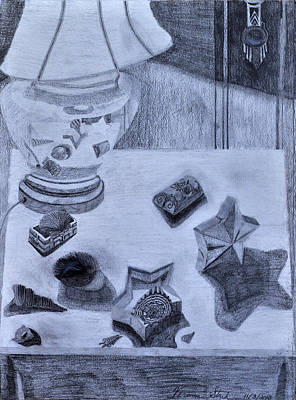 Old Lamp Drawing - Reflections And Shadows Upon My Table by Verana Stark