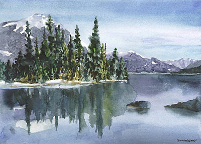 Snow Capped Painting - Reflections by Anne Gifford