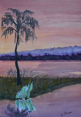 Tree Reflection At Sunset Painting - Reflections At Dusk 2 by Warren Thompson