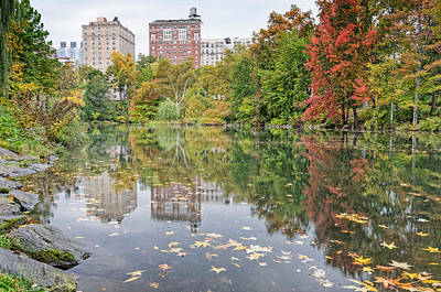 Photograph - Reflections At The Pool In Central Park by Silvio Ligutti