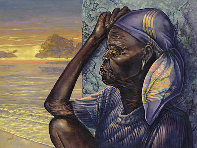 African Woman Painting - Reflections by Dennis Goff