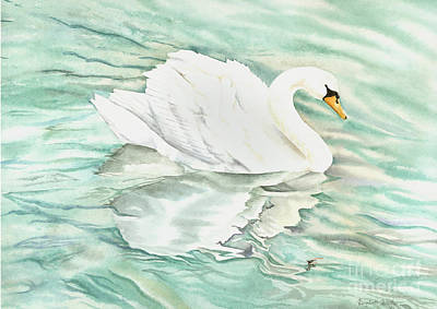 Swans Painting - Reflections by Elizabeth Lock