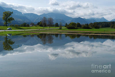 Photograph - Reflections - Flooded Field - Austria by Phil Banks