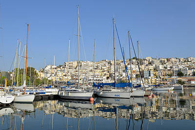 Trip Photograph - Reflections In Mikrolimano Port by George Atsametakis