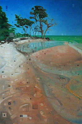 Salt Air Painting - Reflections In The Sand by T S Carson