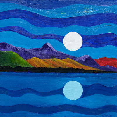 Large Moon Painting - Reflections by Jodi Forster