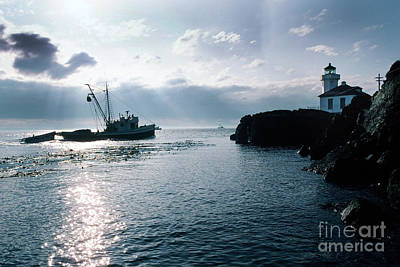 Photograph - Reflections Lime Kiln Point Lighthouse San Juan Island 1983 by California Views Mr Pat Hathaway Archives