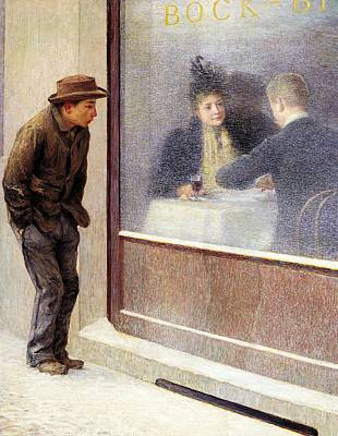Other Painting - Reflections Of A Hungry Man Or Social Contrasts by Emilio Longoni