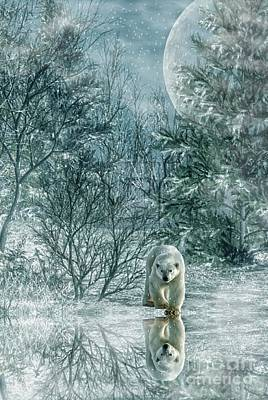 Digital Art - Reflections Of A Polar Bear by Lee-Anne Rafferty-Evans