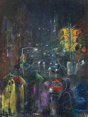 Painting - Reflections Of A Rainy Night by Leela Payne
