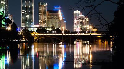 Reflections Of Austin Skyline In Lady Bird Lake At Night 04 Art Print