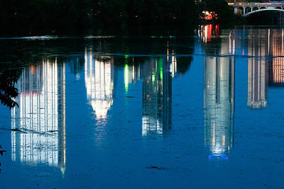 Reflections Of Austin Skyline In Lady Bird Lake At Night Art Print by Jeff Kauffman